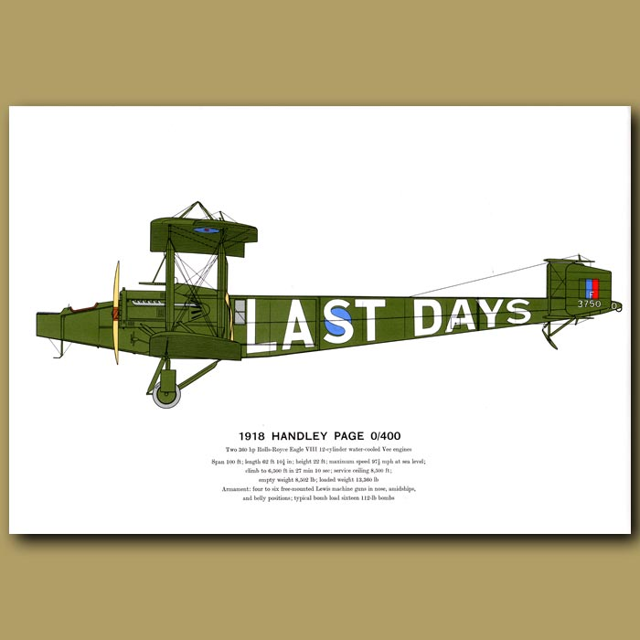 Antique print. Handley Page 0/400 Plane 1918