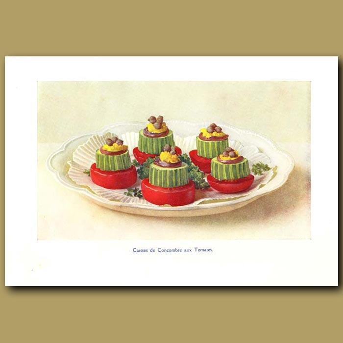 Antique print. Caisses De Concombre Aux Tomates
