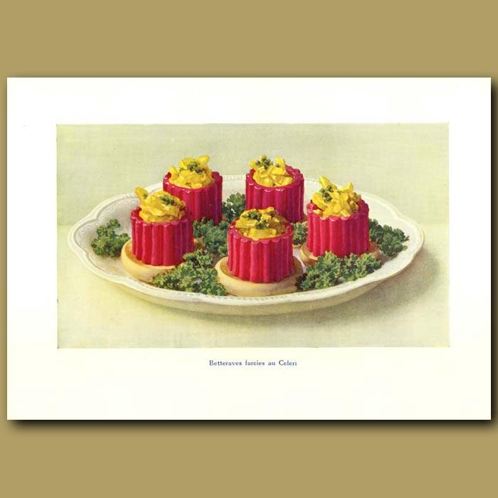 Antique print. Betteraves Farcies Au Celeri