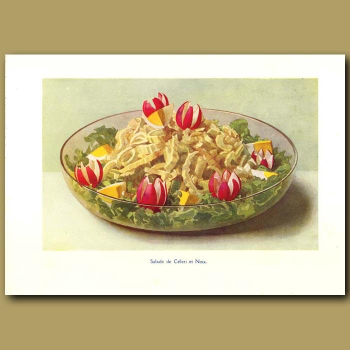 Antique print. Salade De Celeri At Noix
