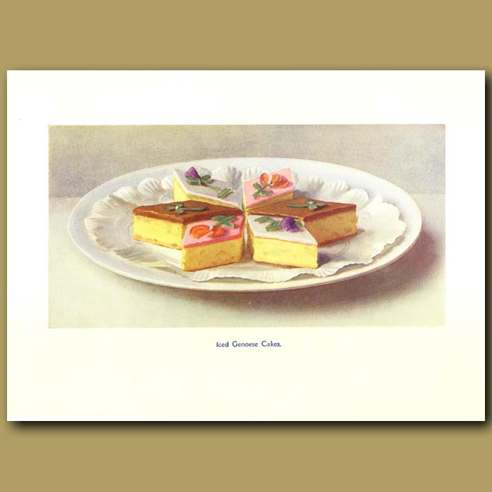 Antique print. Iced Genoese Cakes