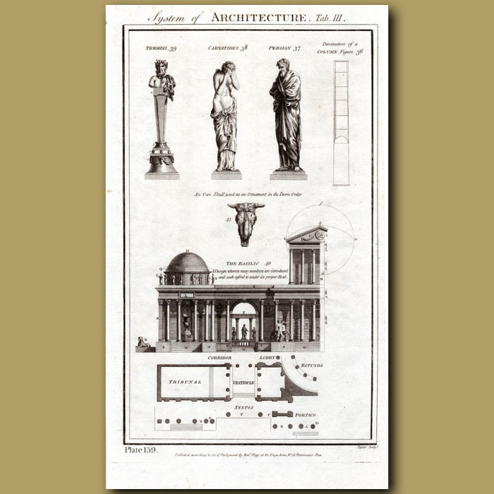 System of Architecture (Statues, Basilica): Genuine antique print for sale.