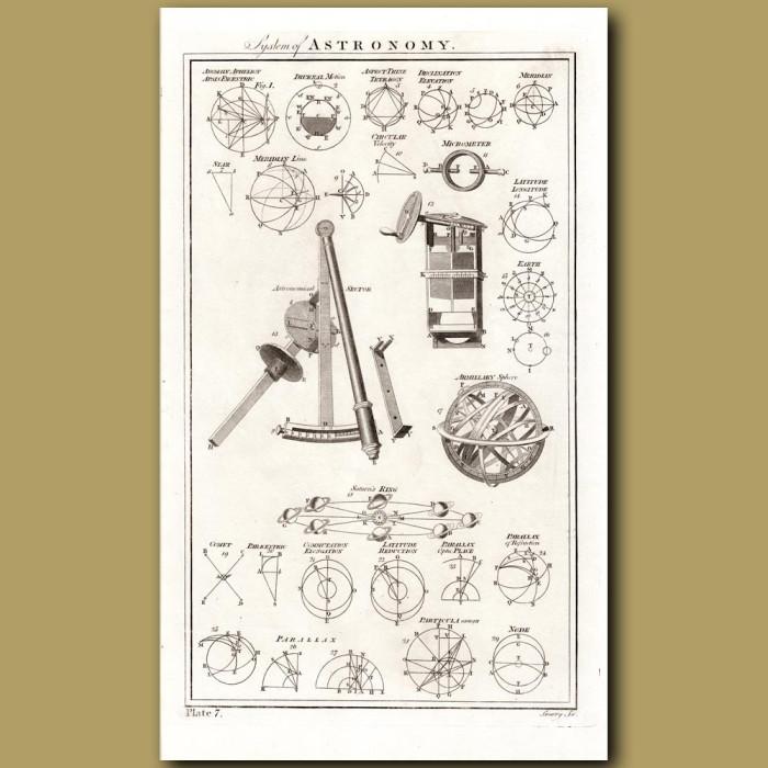 Astronomy: Armillary Globe Etc: Genuine antique print for sale.