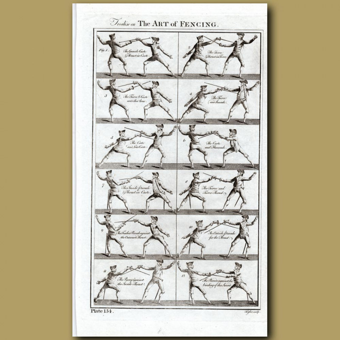 Treatise on the Art of Fencing: Genuine antique print for sale.