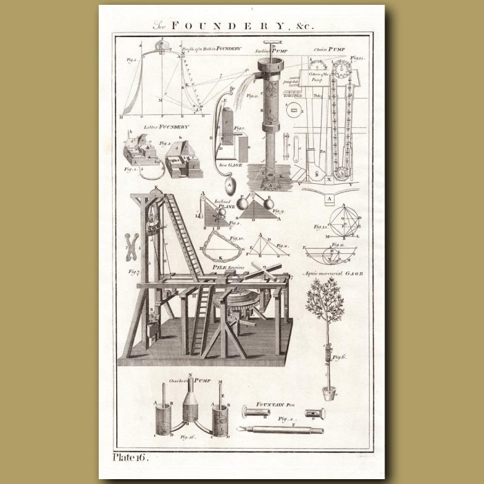 The Foundry: Genuine antique print for sale.