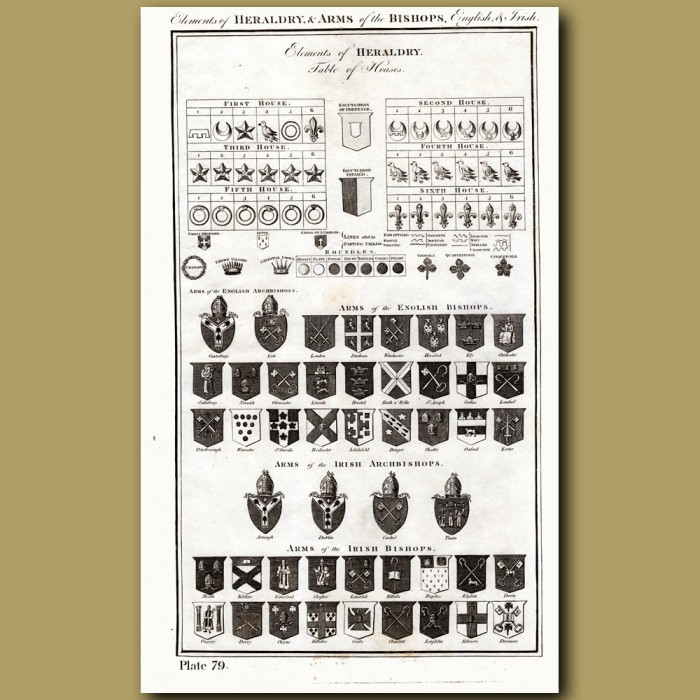 Elements of Heraldry & Arms of the Bishops, English and Irish: Genuine antique print for sale.