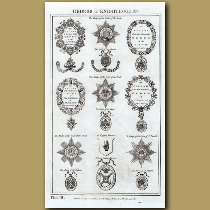 Orders of Knighthood: Genuine antique print for sale.