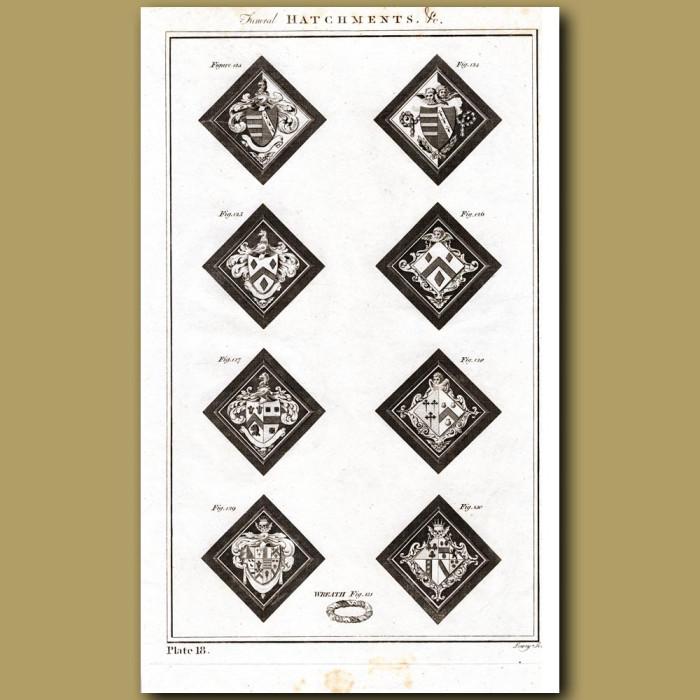 Funeral Hatchments: Genuine antique print for sale.