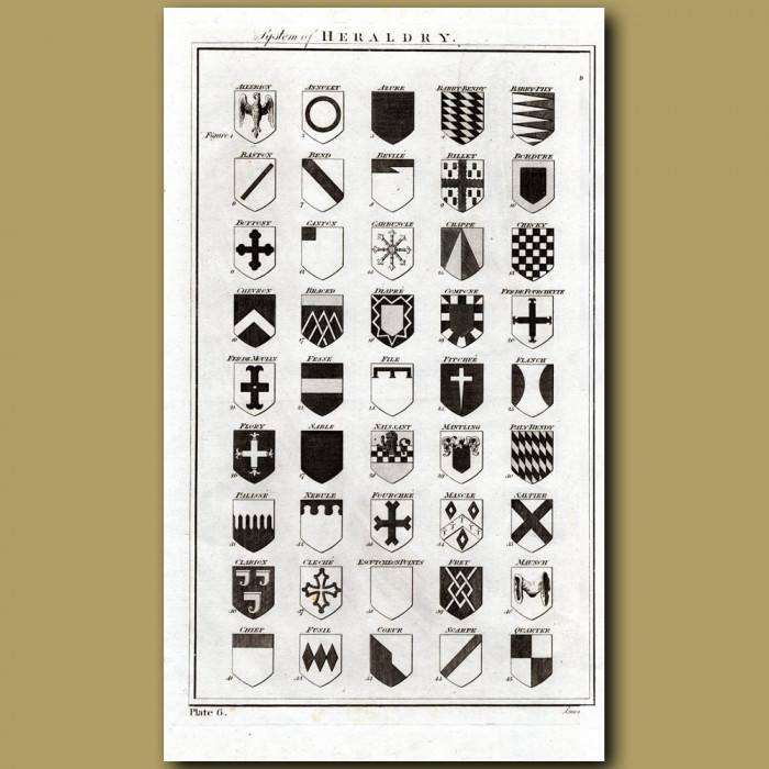 System of Heraldry: Genuine antique print for sale.