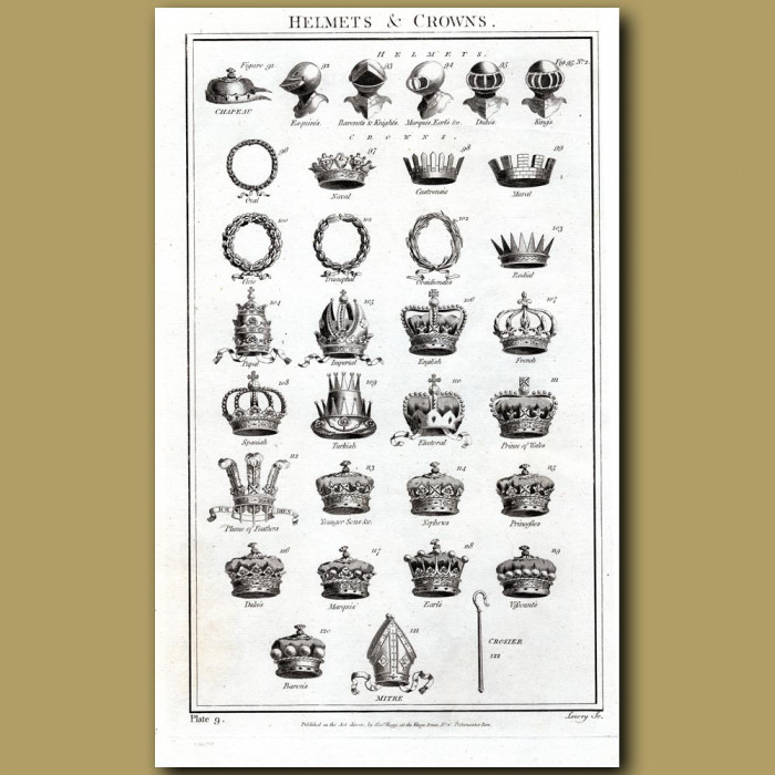 Helmets and Crowns: Genuine antique print for sale.