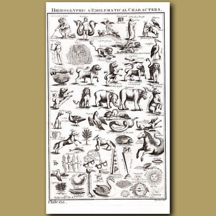 Hieroglyphic and Emblematical Characters: Genuine antique print for sale.