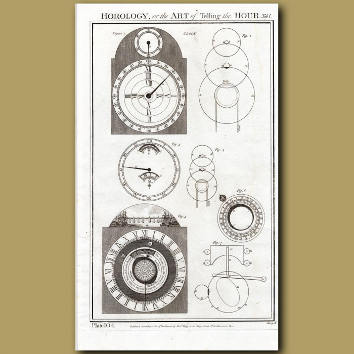 Horology or the Art of Telling the Hour: Genuine antique print for sale.