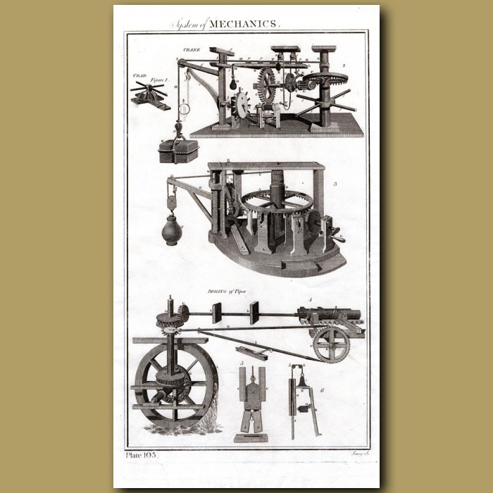 System of Mechanics or the Science of Motion: Genuine antique print for sale.