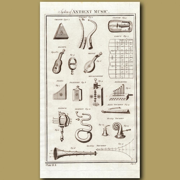 System Of Ancient Music: Genuine antique print for sale.