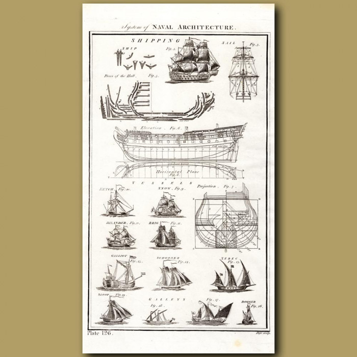 System Of Naval Architecture: Genuine antique print for sale.