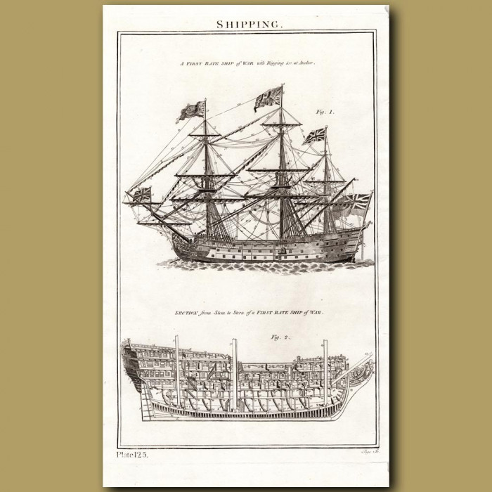 Shipping: A first Rate Ship Of War: Genuine antique print for sale.