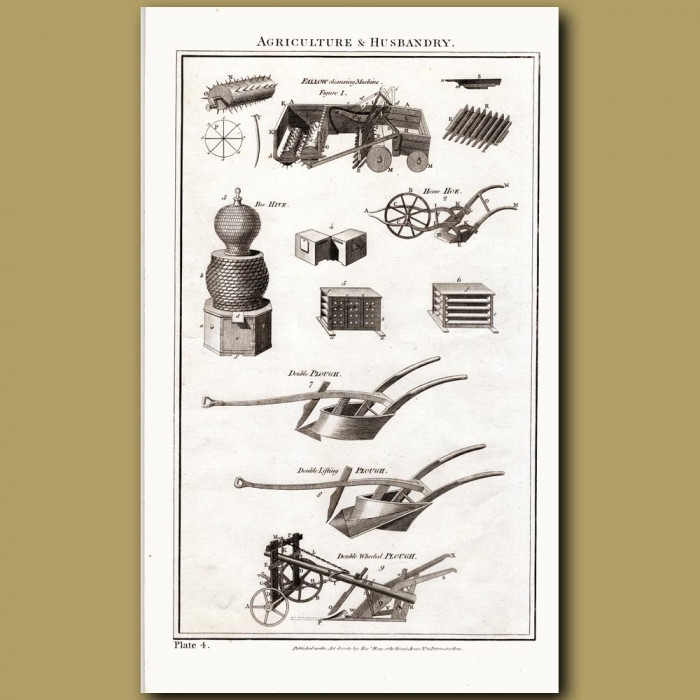 Agriculture and Husbandry (Bee hive, Horse Hoe, Double Plough): Genuine antique print for sale.