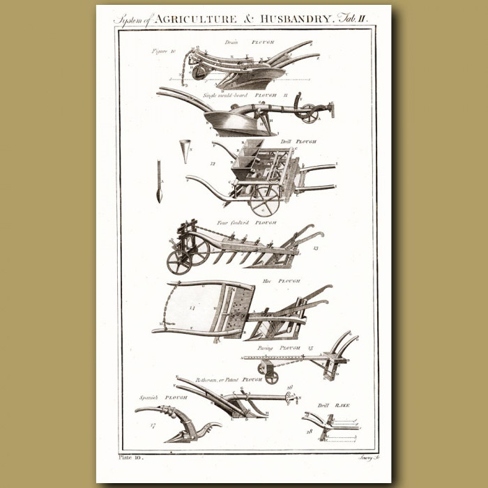 Agriculture and Husbandry (Ploughs): Genuine antique print for sale.