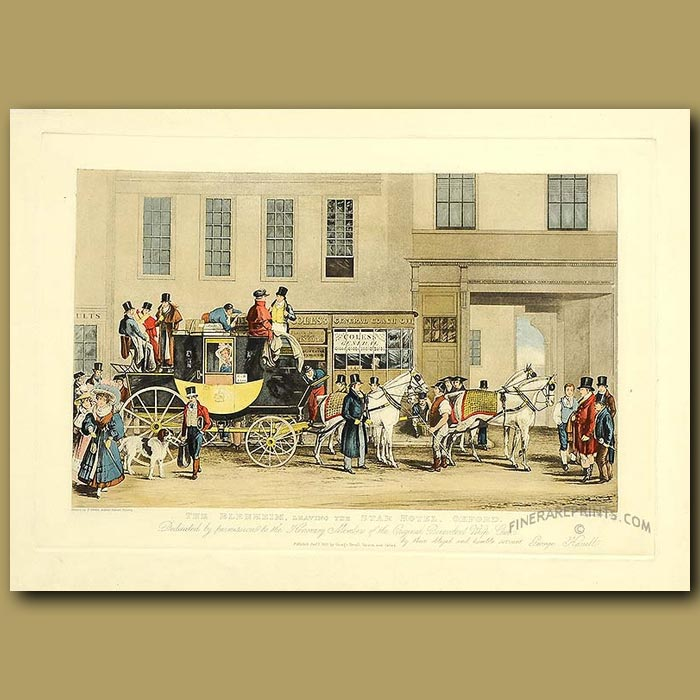 Antique print. Coaching In 1831. The Blenheim, Leaving The Star Hotel, Oxford