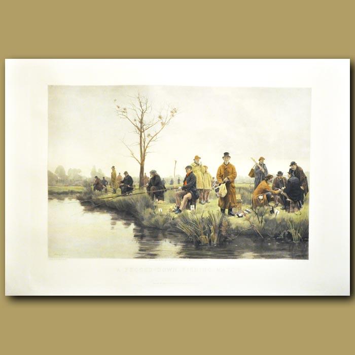 Antique print. A Pegged-Down Fishing Match