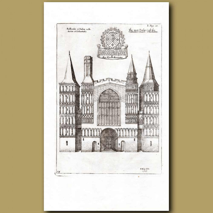 Antique print. West Prospect of the Cathedral Church of Rochester