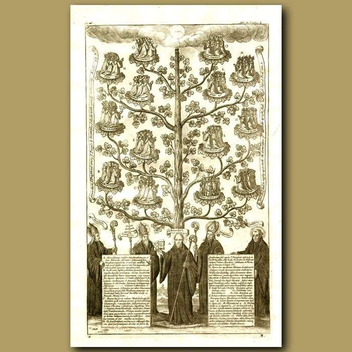 Antique print. Monks - St.Dunstan, St. Gregory, St Benedict, St Augustin and St.Cuthbert