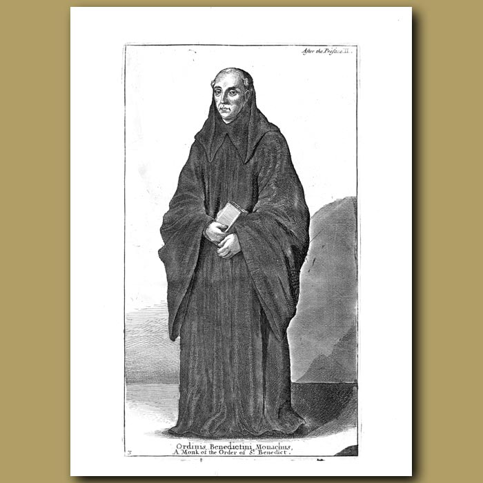 Antique print. A monk of the order of St. Benedict