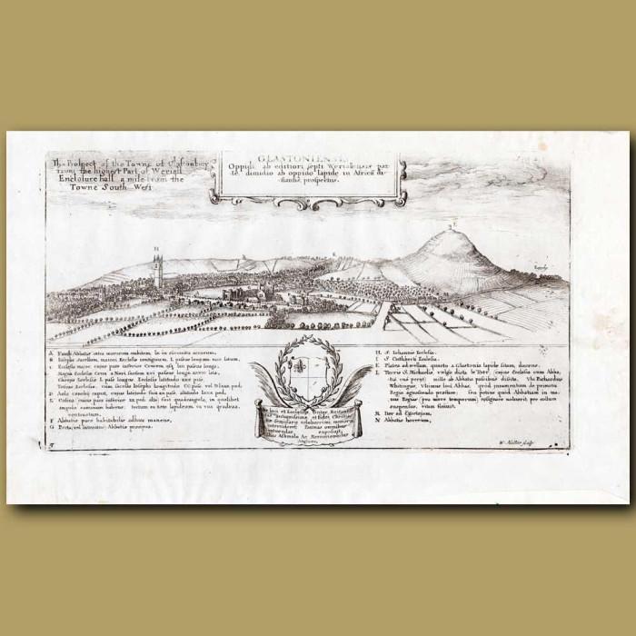 Antique print. Glastonbury