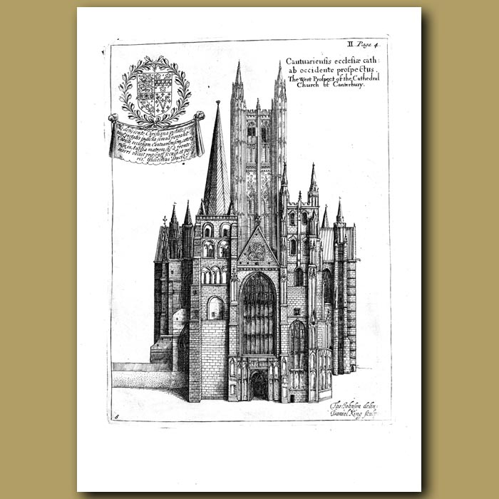 Antique print. Canterbury Cathedral