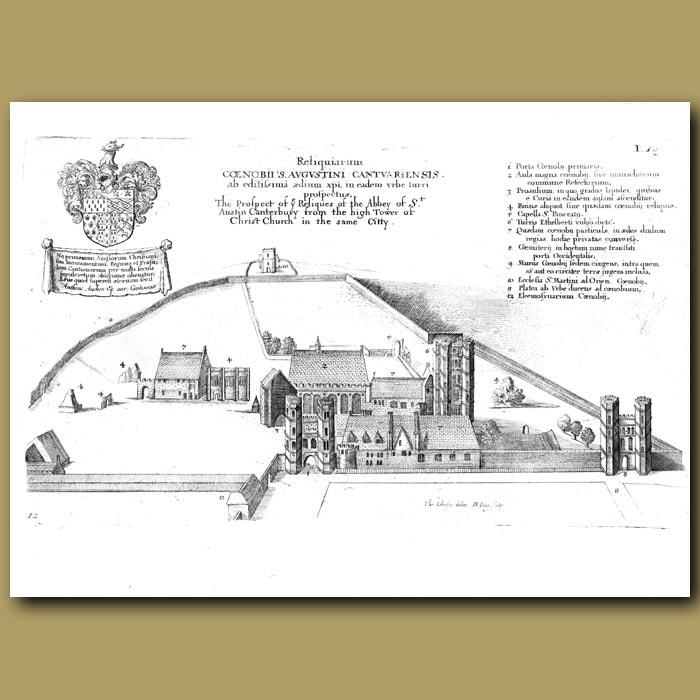 Antique print. Abbey of St Austin, Canterbury