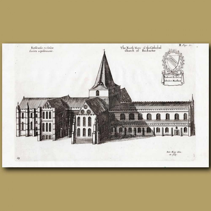Antique print. Rochester Cathedral, north view