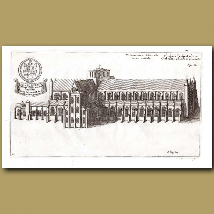 Antique print. Winchester Cathedral, south prospect