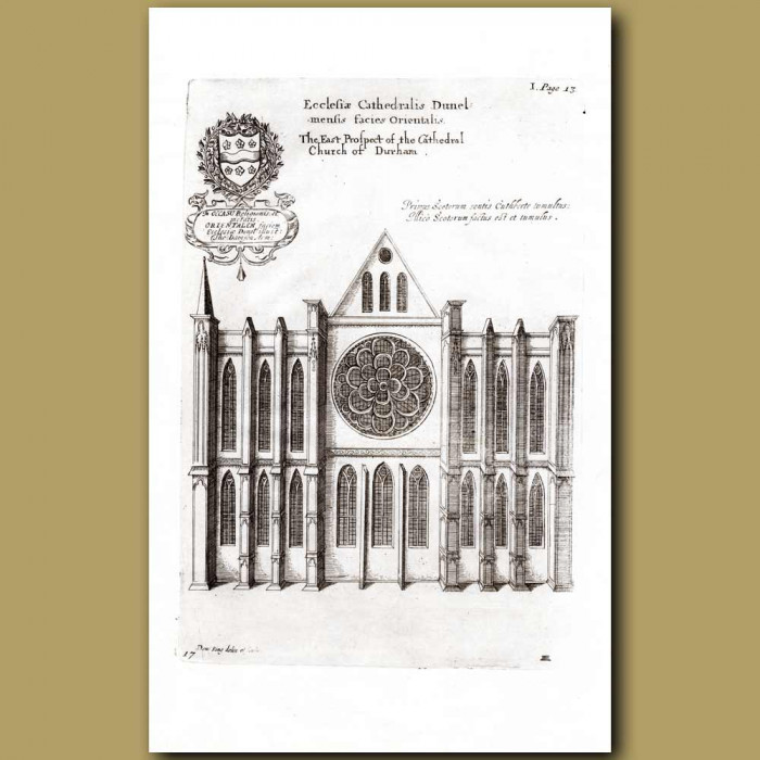 Antique print. Durham Cathedral, east prospect
