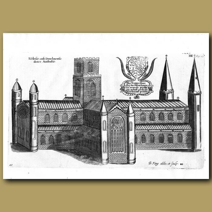 Antique print. Durham Cathedral