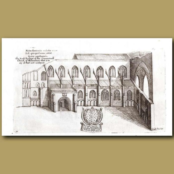 Antique print. Malmesbury Church