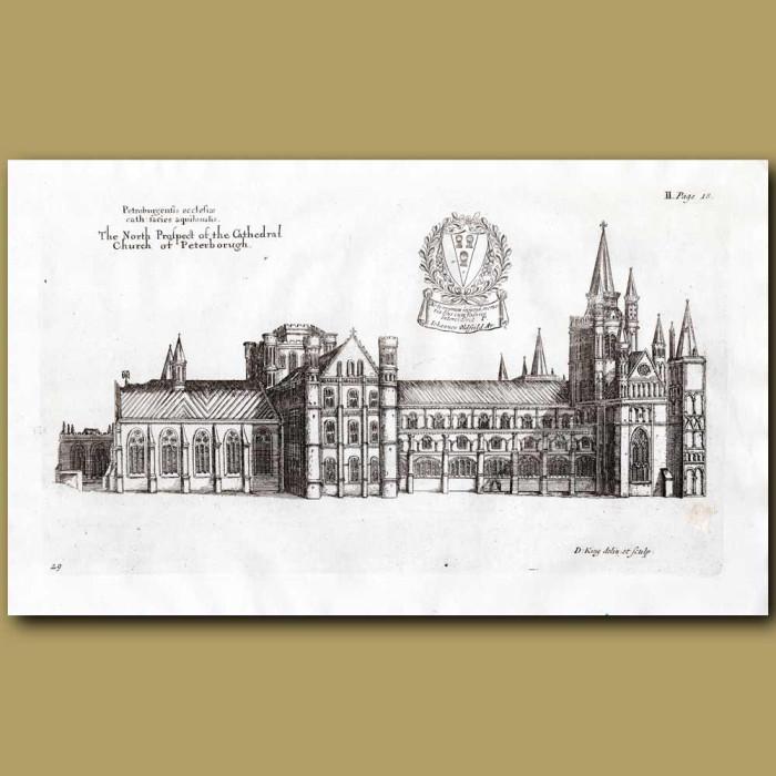 Antique print. Peterborough Cathedral, north prospect