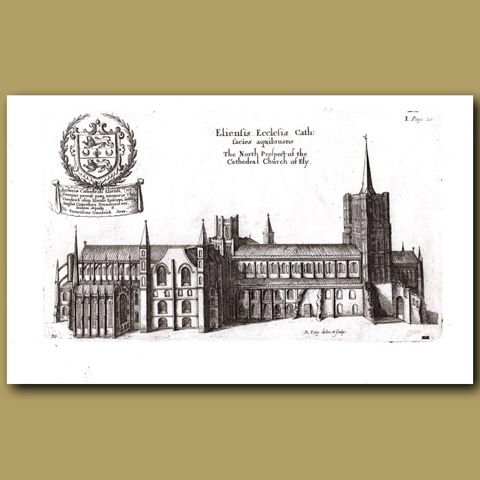 Antique print. Cathedral Church of Ely, north prospect
