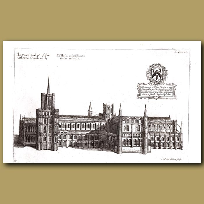 Antique print. Cathedral Church of Ely, south prospect