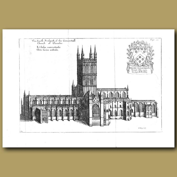 Antique print. Church of Gloucester, south prospect