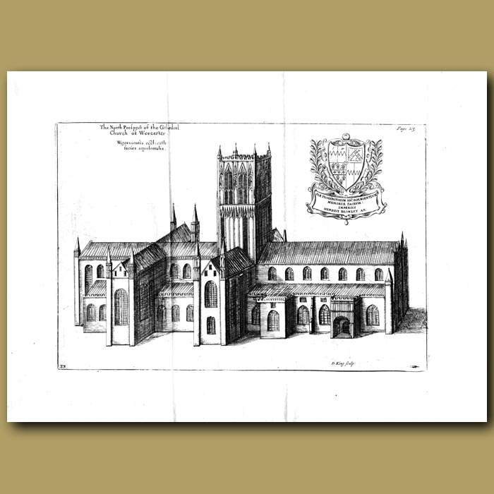 Antique print. Church of Worcester, north prospect