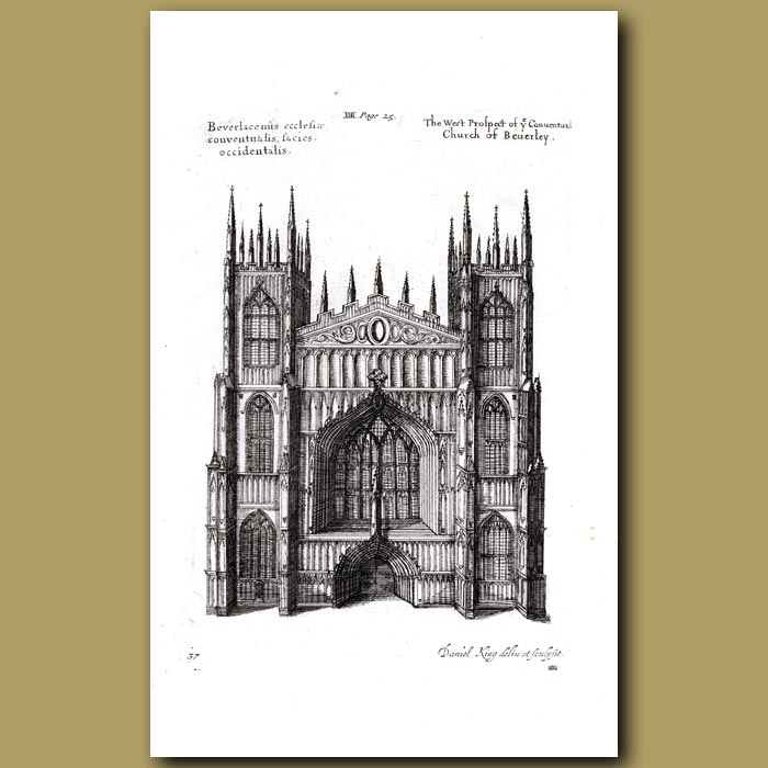 Antique print. Church of Beverley, west prospect