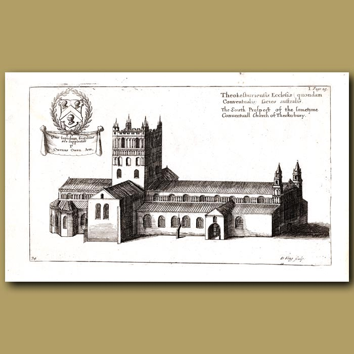 Antique print. Church of Tewkesbury, south prospect