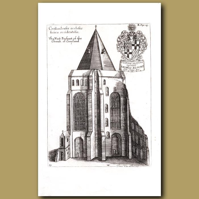 Antique print. Church of Croyland, west prospect