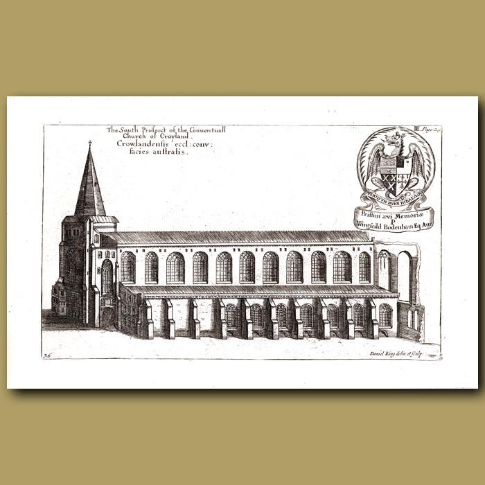 Antique print. Church of Croyland, south prospect