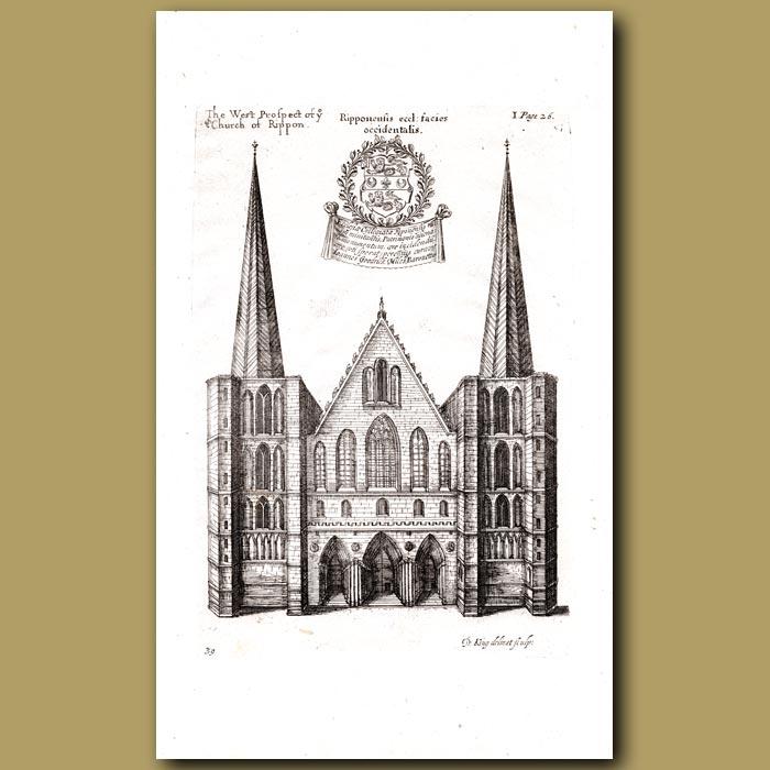 Antique print. Church of Ripon, west prospect