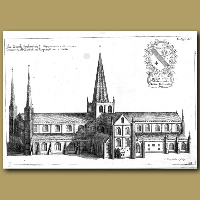 Antique print. Church of Rippon, south prospect