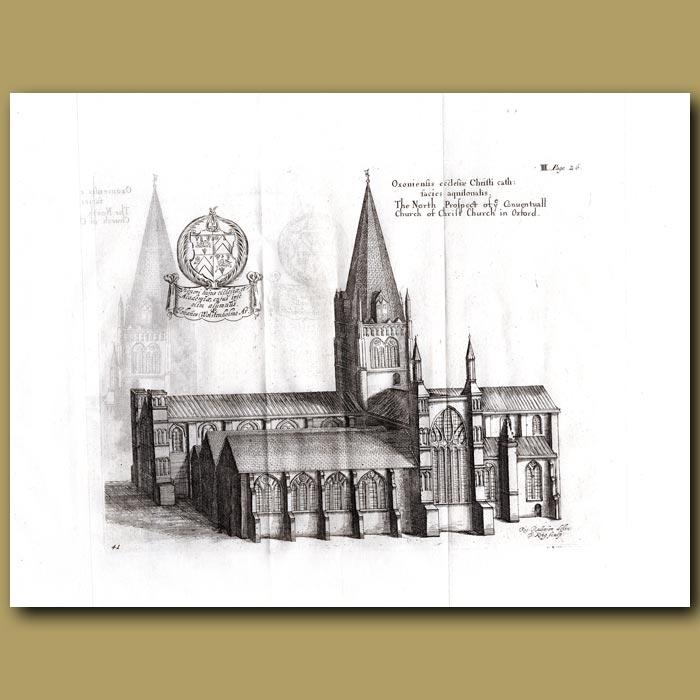 Antique print. Church of Christchurch in Oxford, north prospect