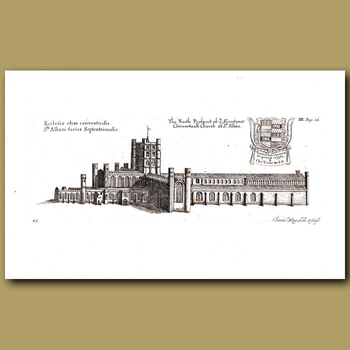 Antique print. Church of St.Alban, north prospect