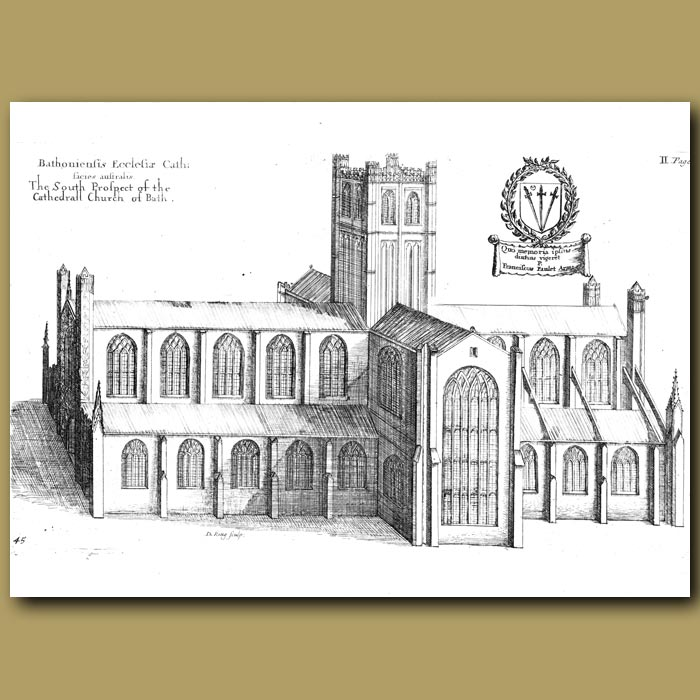 Antique print. Cathedral Church of Bath, south prospect
