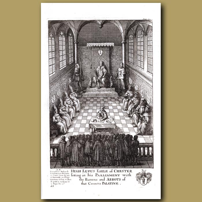 Antique print. Hugh Lupus, Earl of Chester sitting in his Parliament with the Barons and Abbots